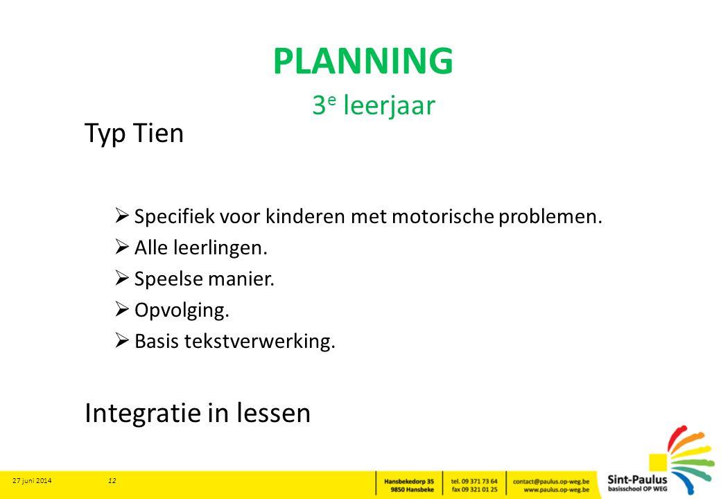 PLANNING Typ Tien  Specifiek voor kinderen met motorische problemen.  Alle leerlingen.  Speelse manier.  Opvolging.  Basis tekstverwerking. Integ