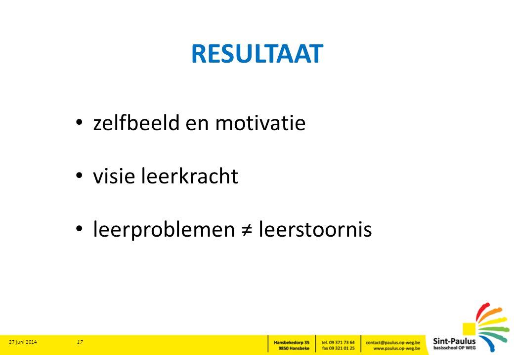 RESULTAAT • zelfbeeld en motivatie • visie leerkracht • leerproblemen ≠ leerstoornis 27 juni 2014 17