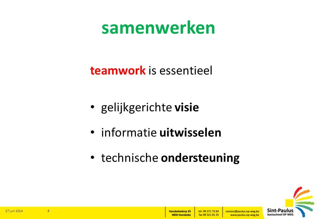samenwerken teamwork is essentieel • gelijkgerichte visie • informatie uitwisselen • technische ondersteuning 27 juni 2014 8