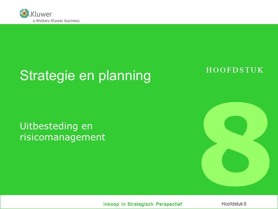 Inkoop in Strategisch Perspectief Programma  Uitbesteding als bedrijfsconcept  Definities en concepten  Balanceren tussen plus en min  Het uitbestedingsproces  Risicoanalyse Hoofdstuk 8