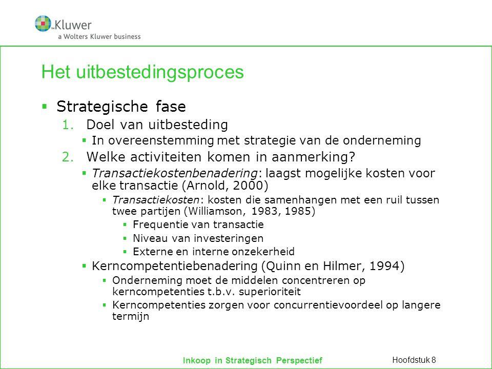 Inkoop in Strategisch Perspectief Het uitbestedingsproces  Strategische fase 1.Doel van uitbesteding  In overeenstemming met strategie van de ondern