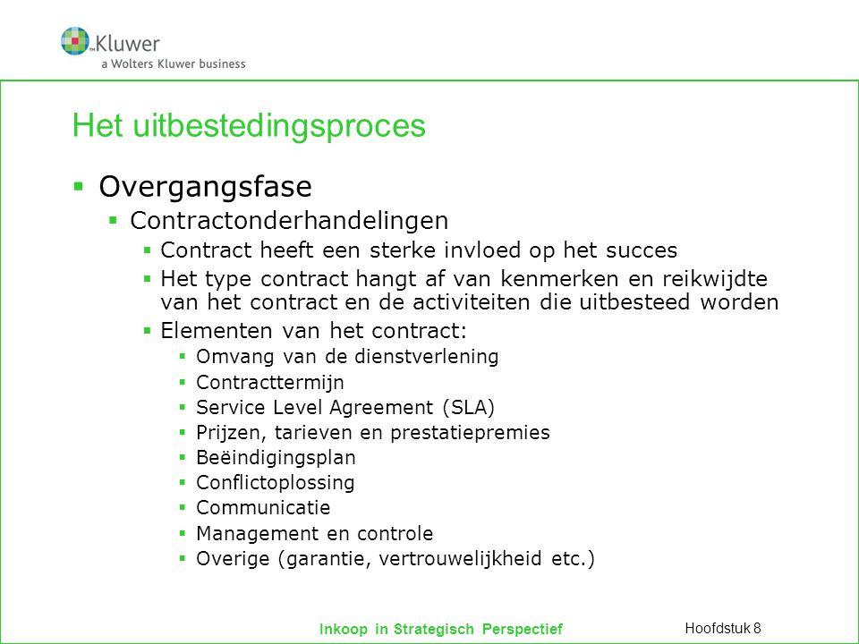 Inkoop in Strategisch Perspectief Het uitbestedingsproces  Overgangsfase  Contractonderhandelingen  Contract heeft een sterke invloed op het succes
