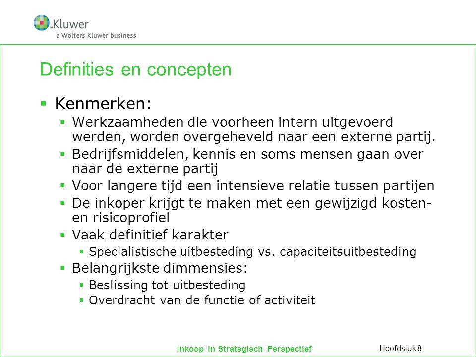 Inkoop in Strategisch Perspectief Definities en concepten  Kenmerken:  Werkzaamheden die voorheen intern uitgevoerd werden, worden overgeheveld naar