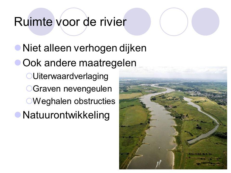 Ruimte voor de rivier  Niet alleen verhogen dijken  Ook andere maatregelen  Uiterwaardverlaging  Graven nevengeulen  Weghalen obstructies  Natuu