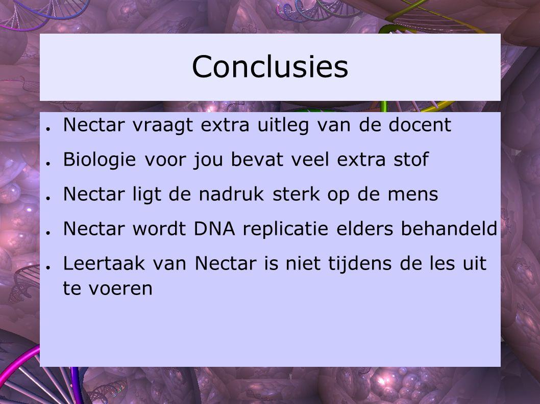 Conclusies ● Nectar vraagt extra uitleg van de docent ● Biologie voor jou bevat veel extra stof ● Nectar ligt de nadruk sterk op de mens ● Nectar word