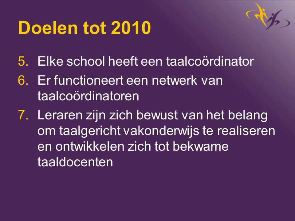 Doelen tot 2010 5.Elke school heeft een taalcoördinator 6.Er functioneert een netwerk van taalcoördinatoren 7.Leraren zijn zich bewust van het belang