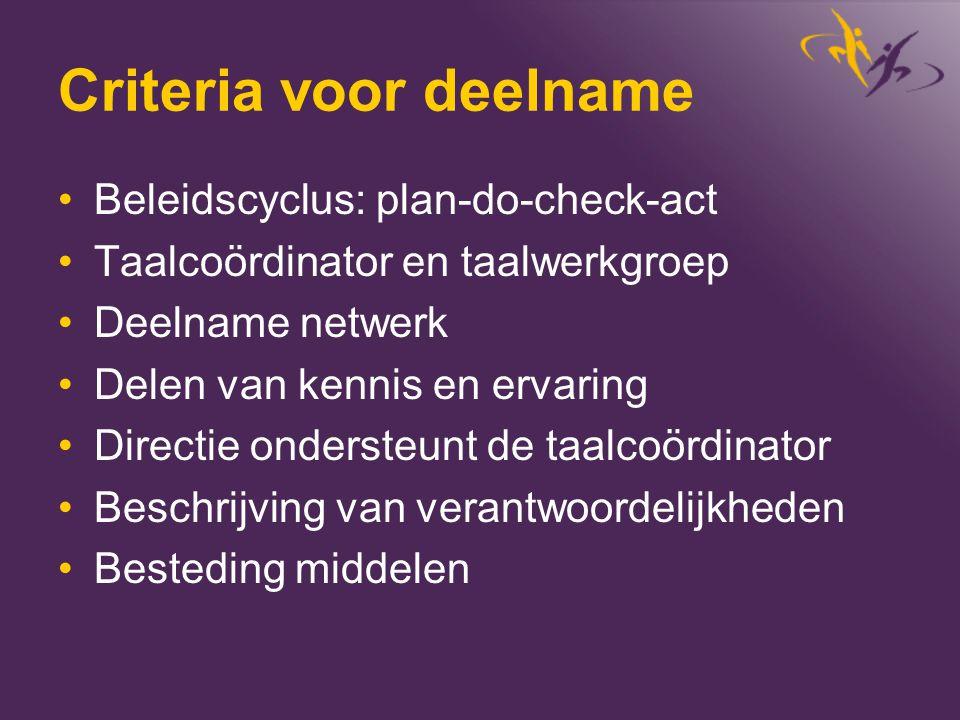 Criteria voor deelname •Beleidscyclus: plan-do-check-act •Taalcoördinator en taalwerkgroep •Deelname netwerk •Delen van kennis en ervaring •Directie o