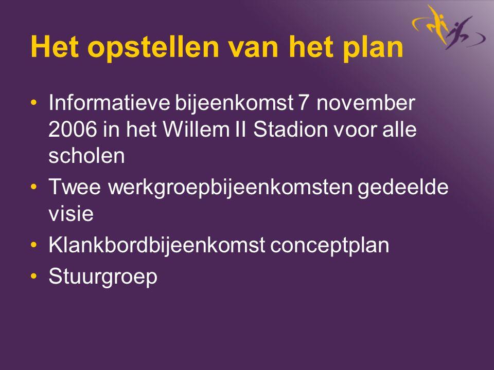 Het opstellen van het plan •Informatieve bijeenkomst 7 november 2006 in het Willem II Stadion voor alle scholen •Twee werkgroepbijeenkomsten gedeelde
