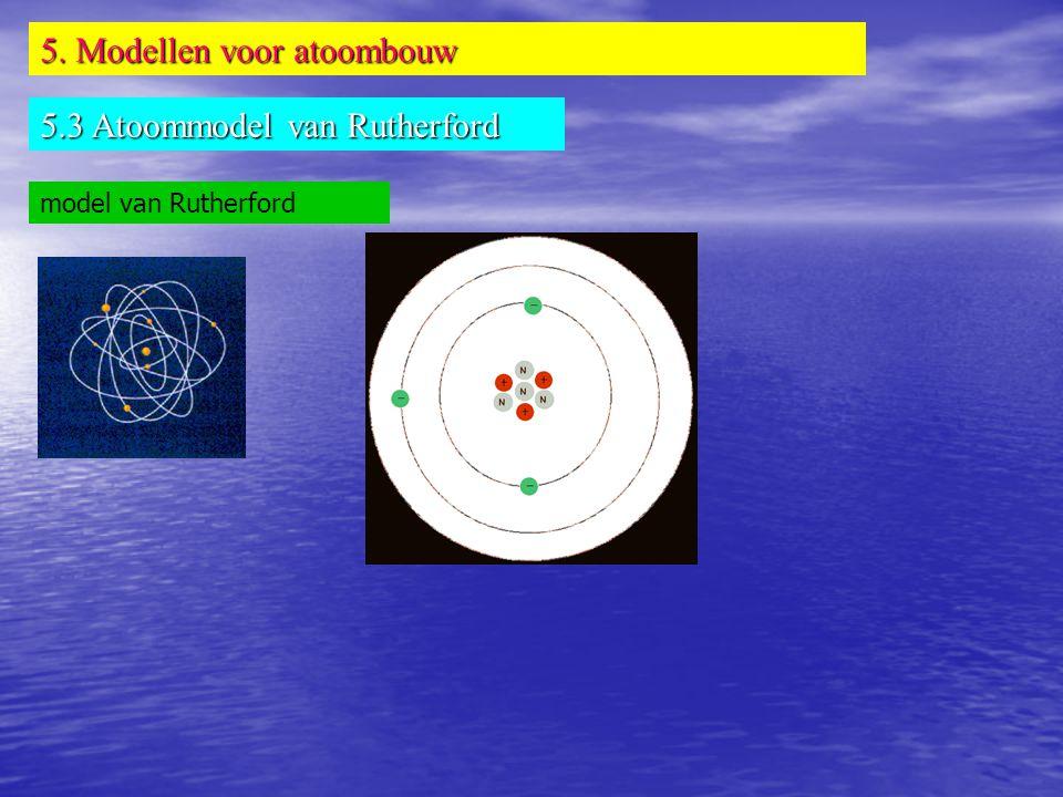 5. Modellen voor atoombouw 5.3 Atoommodel van Rutherford model van Rutherford