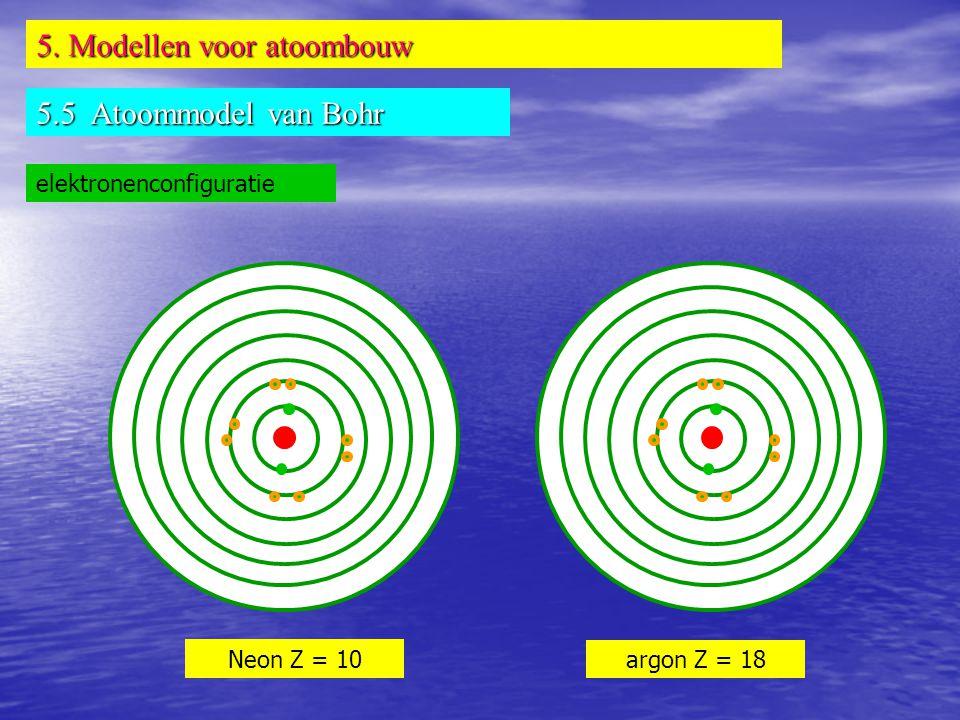 5. Modellen voor atoombouw 5.5 Atoommodel van Bohr elektronenconfiguratie Neon Z = 10 argon Z = 18