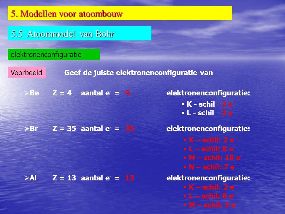 5. Modellen voor atoombouw 5.5 Atoommodel van Bohr elektronenconfiguratie VoorbeeldGeef de juiste elektronenconfiguratie van  BeZ = 4aantal e - =elek