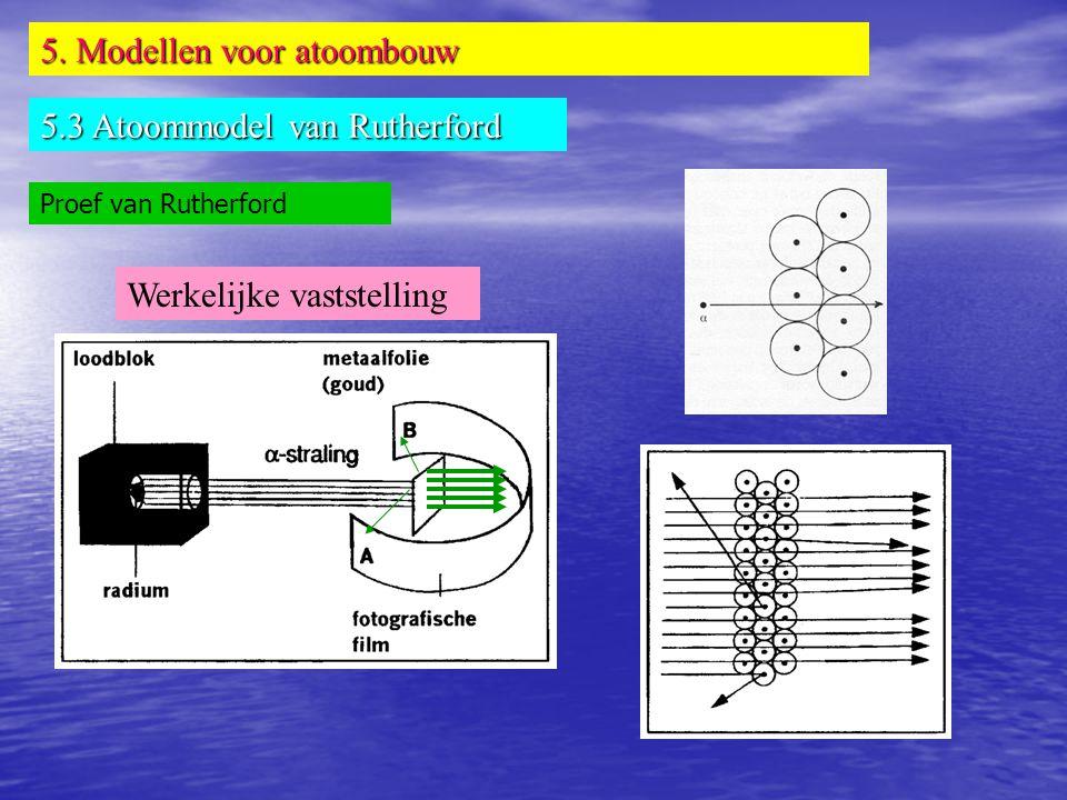 5. Modellen voor atoombouw 5.3 Atoommodel van Rutherford Proef van Rutherford Werkelijke vaststelling