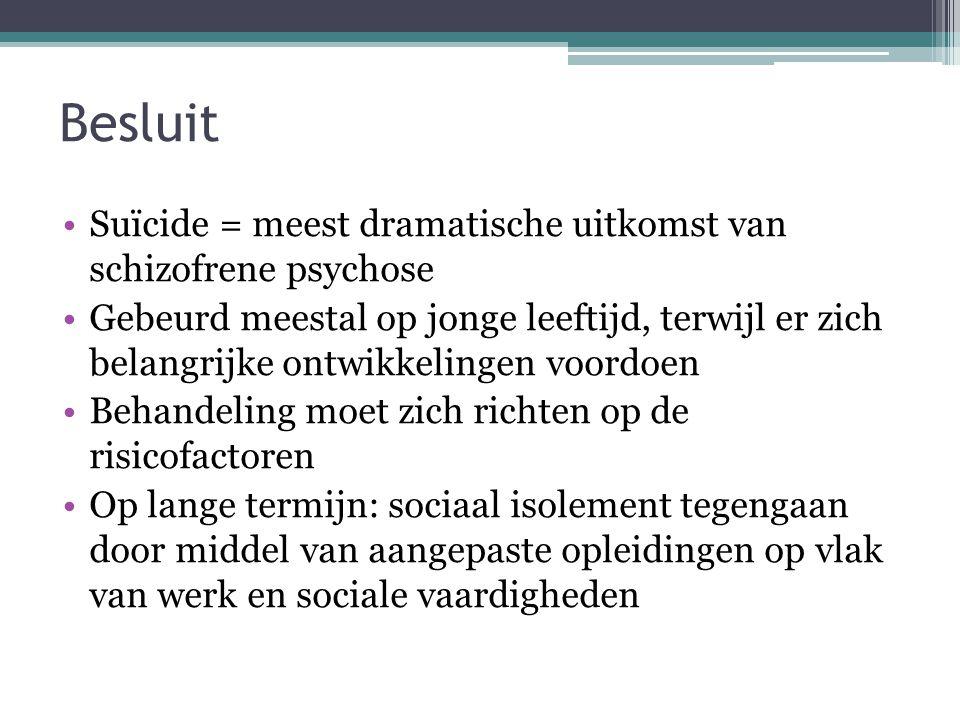 Besluit •Suïcide = meest dramatische uitkomst van schizofrene psychose •Gebeurd meestal op jonge leeftijd, terwijl er zich belangrijke ontwikkelingen