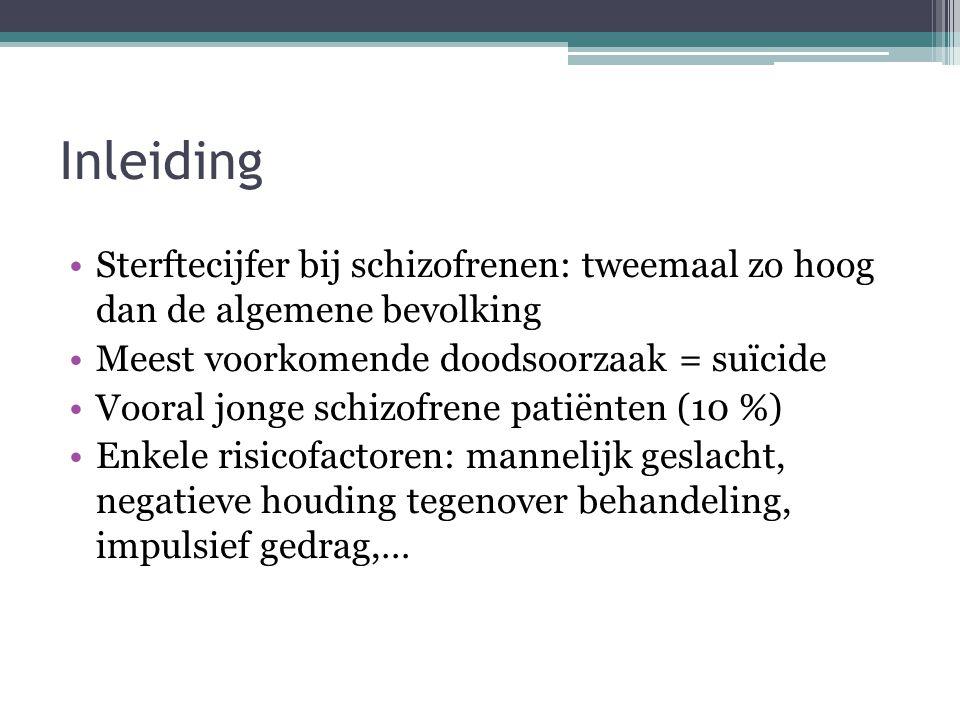 Inleiding •Sterftecijfer bij schizofrenen: tweemaal zo hoog dan de algemene bevolking •Meest voorkomende doodsoorzaak = suïcide •Vooral jonge schizofr