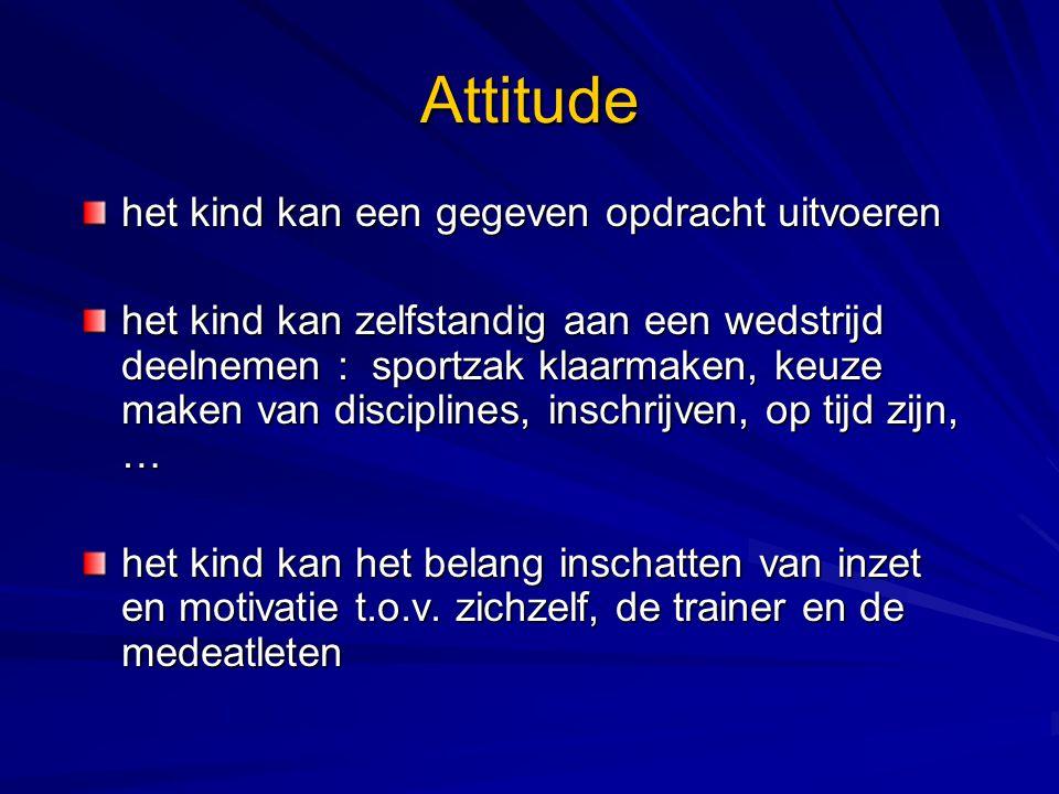 Attitude het kind kan een gegeven opdracht uitvoeren het kind kan zelfstandig aan een wedstrijd deelnemen : sportzak klaarmaken, keuze maken van disci