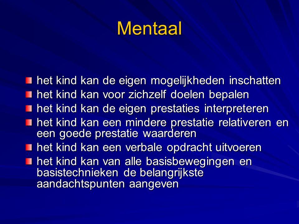Mentaal het kind kan de eigen mogelijkheden inschatten het kind kan voor zichzelf doelen bepalen het kind kan de eigen prestaties interpreteren het ki