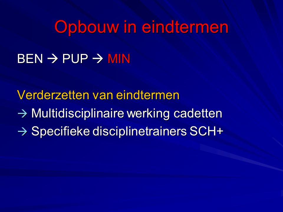 Opbouw in eindtermen BEN  PUP  MIN Verderzetten van eindtermen  Multidisciplinaire werking cadetten  Specifieke disciplinetrainers SCH+