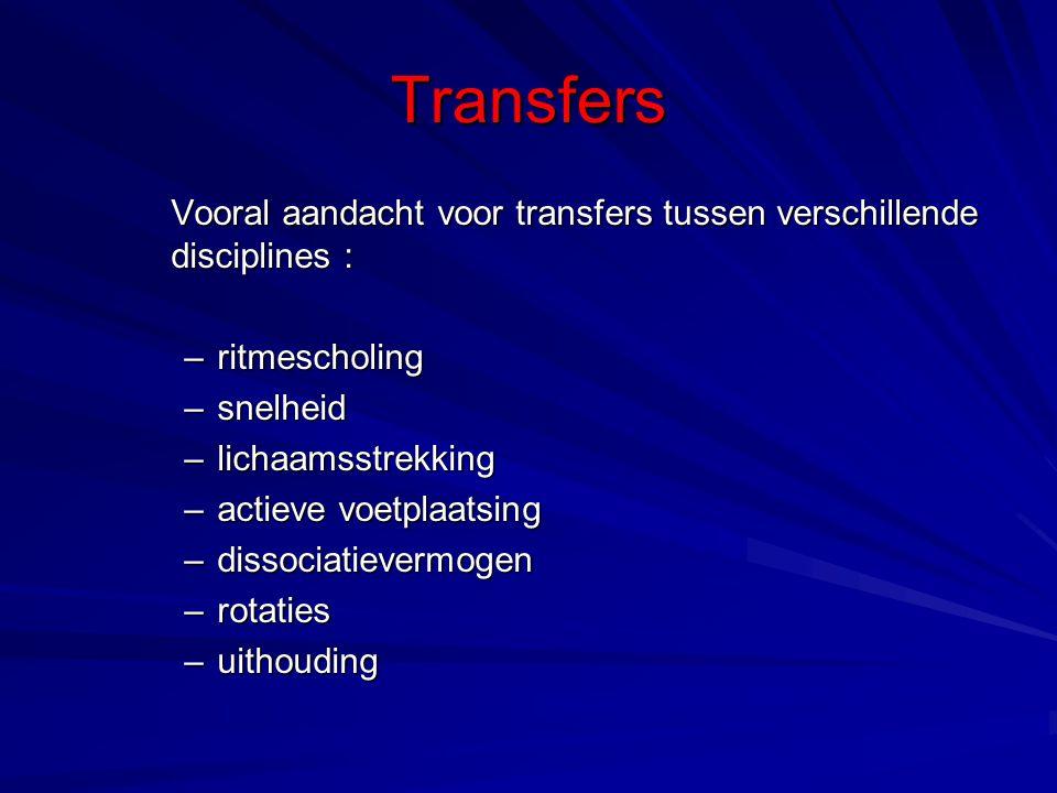 Transfers Vooral aandacht voor transfers tussen verschillende disciplines : –ritmescholing –snelheid –lichaamsstrekking –actieve voetplaatsing –dissociatievermogen –rotaties –uithouding