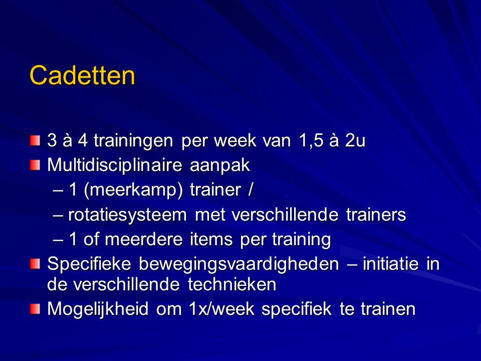 Cadetten 3 à 4 trainingen per week van 1,5 à 2u Multidisciplinaire aanpak –1 (meerkamp) trainer / –rotatiesysteem met verschillende trainers –1 of meerdere items per training Specifieke bewegingsvaardigheden – initiatie in de verschillende technieken Mogelijkheid om 1x/week specifiek te trainen