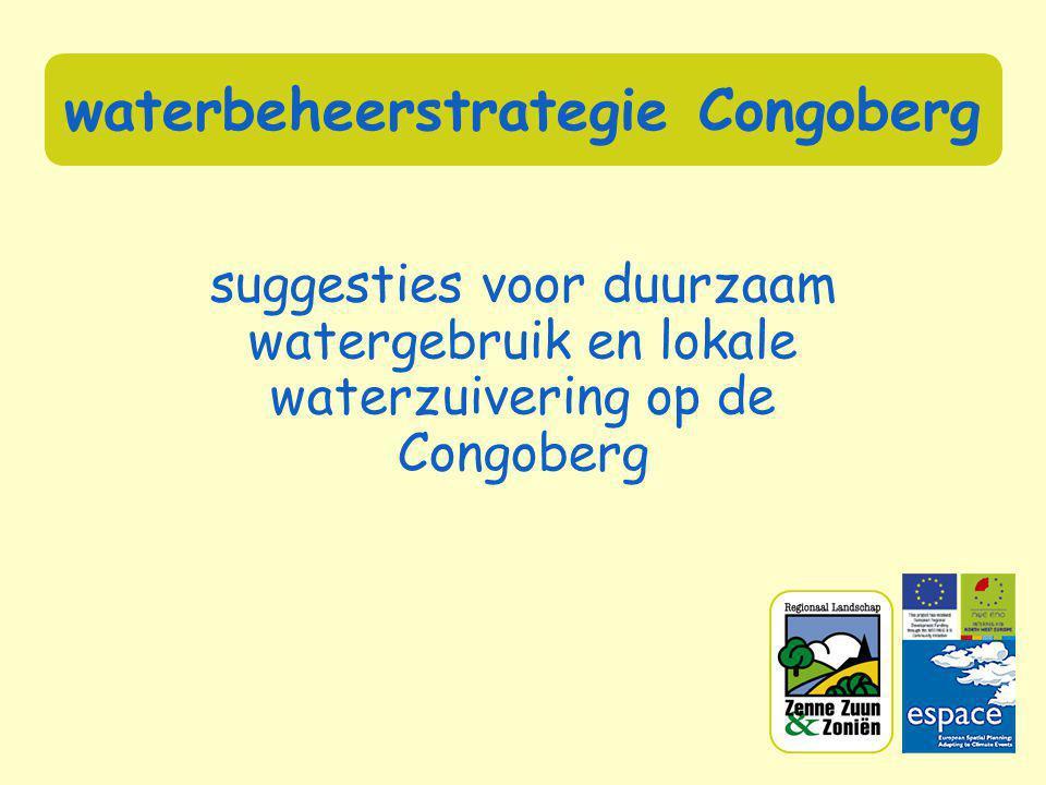 regenwatergebruik: een voorbeeld • zuivering regenwater: trage zandfilter: oppervlakte = 29.5 m² • kostprijs: richtprijs voor tank van 8 000 liter: tank + installatie875 € (1000 – 2500 €) • subsidies: gemeente: 125 € + gewestelijk: 125 € = 250 € • besparing: investering terugverdienen op periode van gemiddeld 10 jaar
