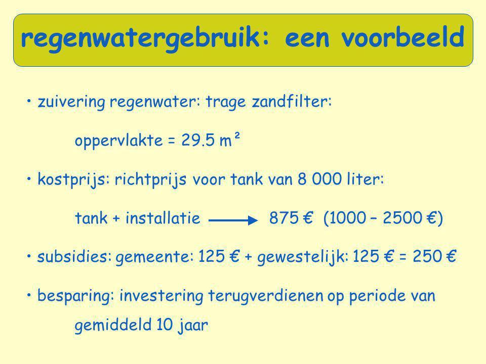 regenwatergebruik: een voorbeeld • zuivering regenwater: trage zandfilter: oppervlakte = 29.5 m² • kostprijs: richtprijs voor tank van 8 000 liter: ta