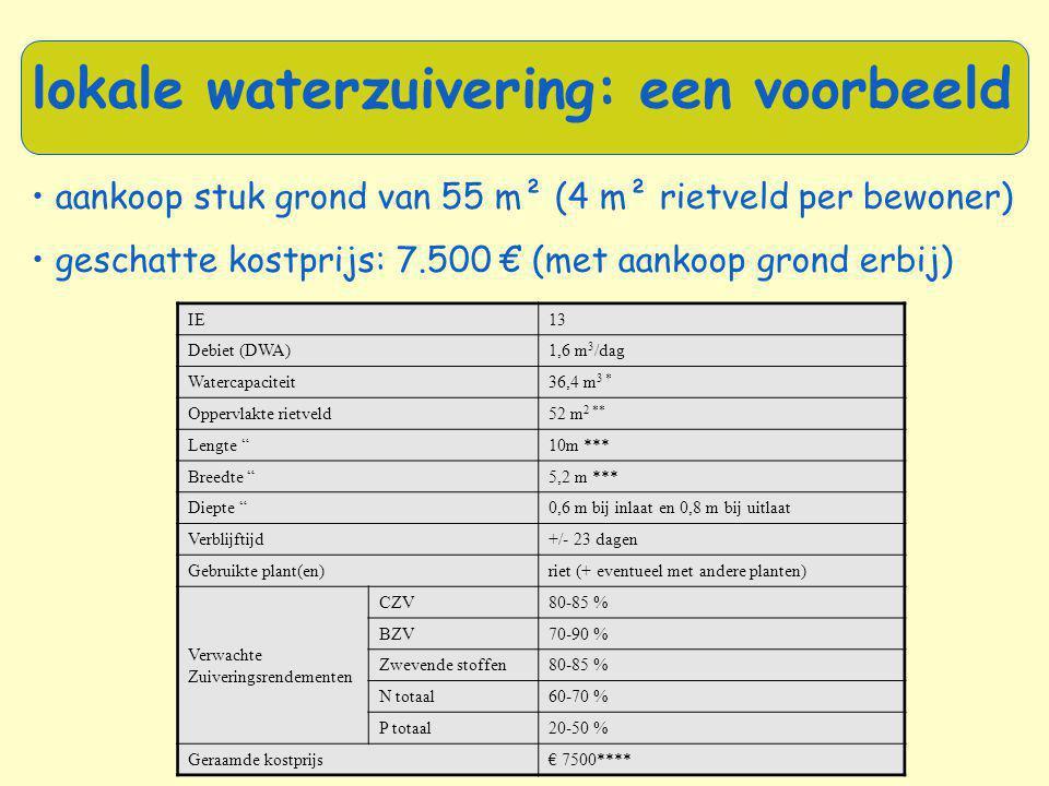 • aankoop stuk grond van 55 m² (4 m² rietveld per bewoner) • geschatte kostprijs: 7.500 € (met aankoop grond erbij) lokale waterzuivering: een voorbee