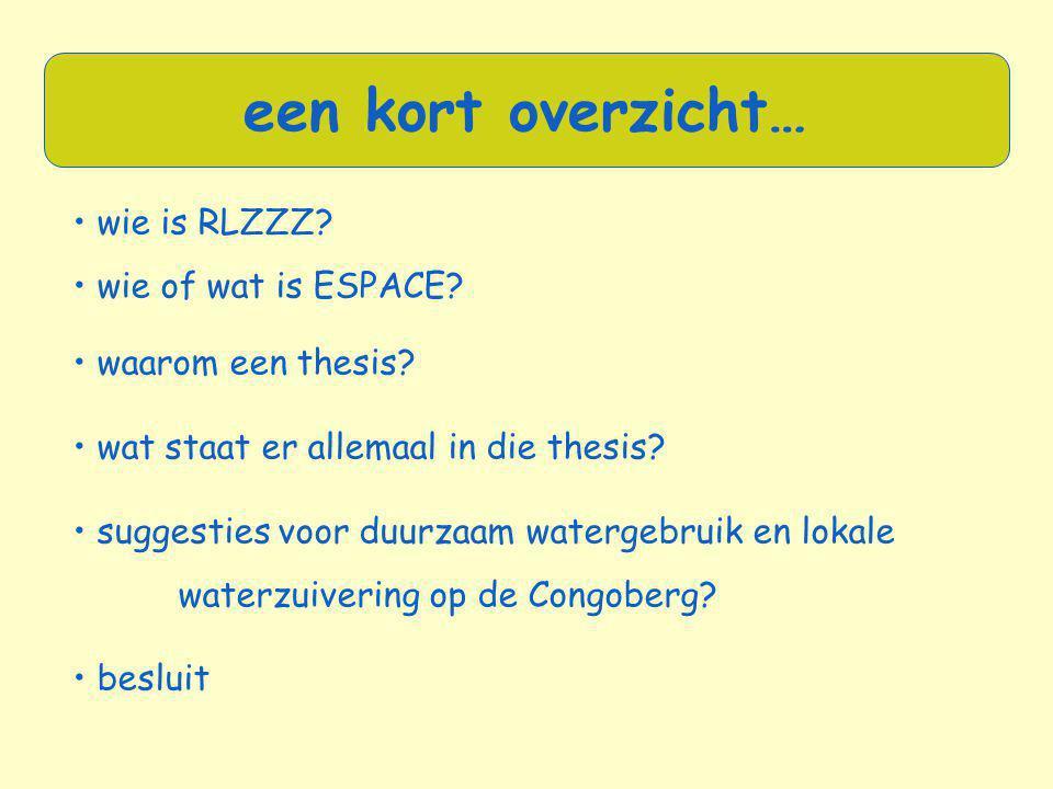 • wie is RLZZZ? • wie of wat is ESPACE? • waarom een thesis? • wat staat er allemaal in die thesis? • suggesties voor duurzaam watergebruik en lokale