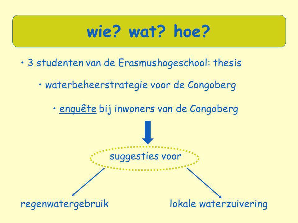 • 3 studenten van de Erasmushogeschool: thesis • waterbeheerstrategie voor de Congoberg • enquête bij inwoners van de Congoberg suggesties voor regenw
