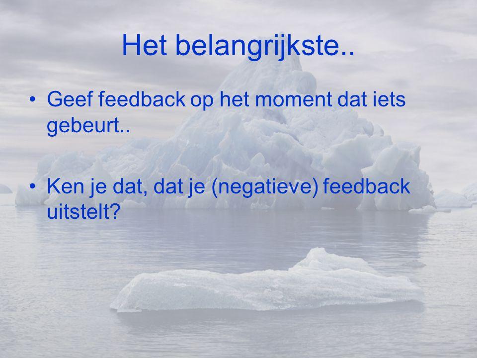 Het belangrijkste.. •Geef feedback op het moment dat iets gebeurt.. •Ken je dat, dat je (negatieve) feedback uitstelt?