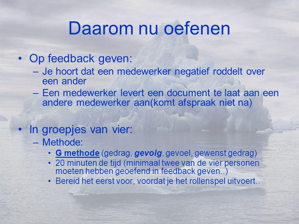 Daarom nu oefenen •Op feedback geven: –Je hoort dat een medewerker negatief roddelt over een ander –Een medewerker levert een document te laat aan een