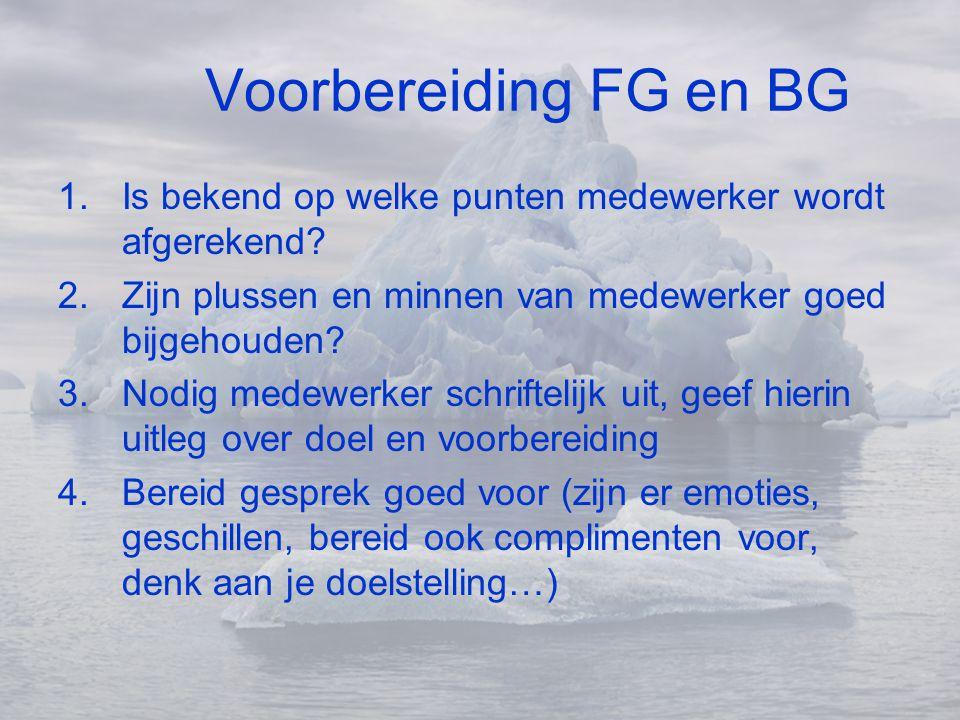 Voorbereiding FG en BG 1.Is bekend op welke punten medewerker wordt afgerekend? 2.Zijn plussen en minnen van medewerker goed bijgehouden? 3.Nodig mede