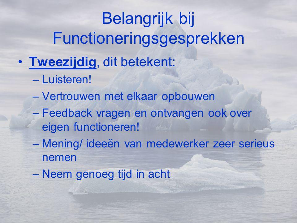 Belangrijk bij Functioneringsgesprekken •Tweezijdig, dit betekent: –Luisteren! –Vertrouwen met elkaar opbouwen –Feedback vragen en ontvangen ook over