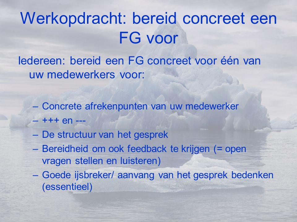 Werkopdracht: bereid concreet een FG voor Iedereen: bereid een FG concreet voor één van uw medewerkers voor: –Concrete afrekenpunten van uw medewerker