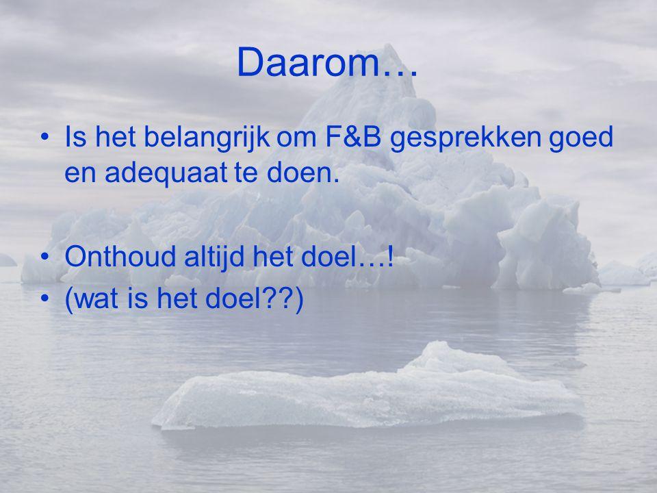 Daarom… •Is het belangrijk om F&B gesprekken goed en adequaat te doen. •Onthoud altijd het doel…! •(wat is het doel??)