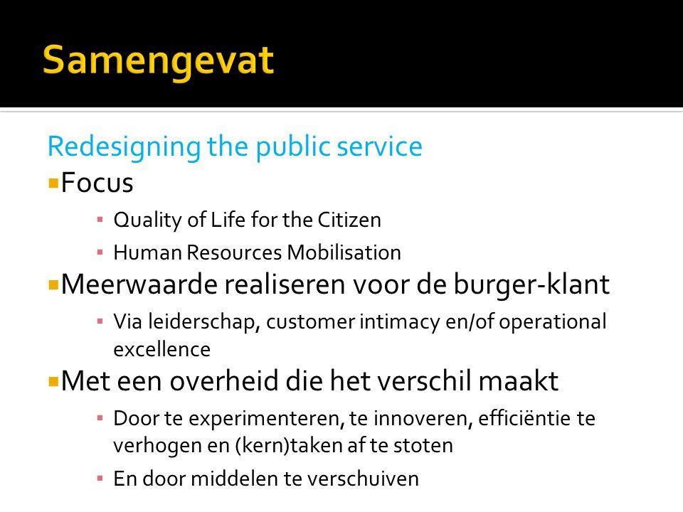 Redesigning the public service  Focus ▪ Quality of Life for the Citizen ▪ Human Resources Mobilisation  Meerwaarde realiseren voor de burger-klant ▪
