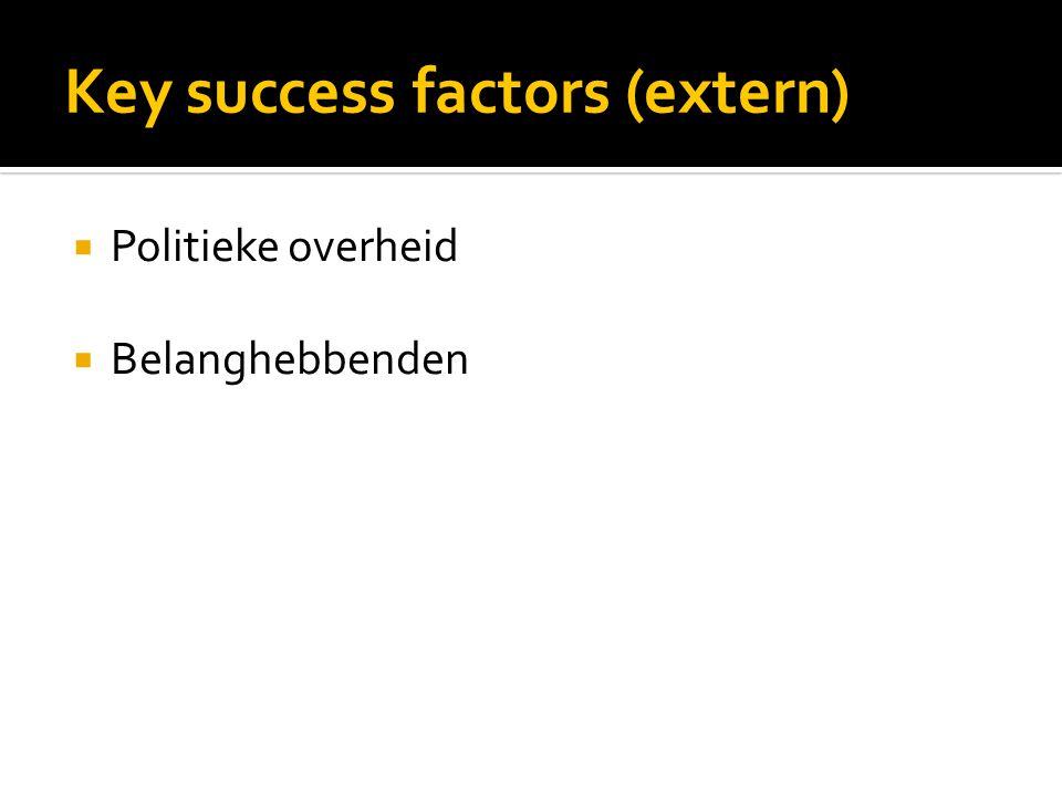 Key success factors (extern)  Politieke overheid  Belanghebbenden