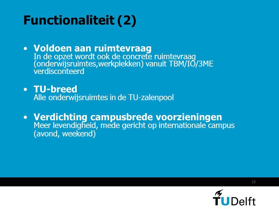 10 Functionaliteit (2) •Voldoen aan ruimtevraag In de opzet wordt ook de concrete ruimtevraag (onderwijsruimtes,werkplekken) vanuit TBM/IO/3ME verdisc
