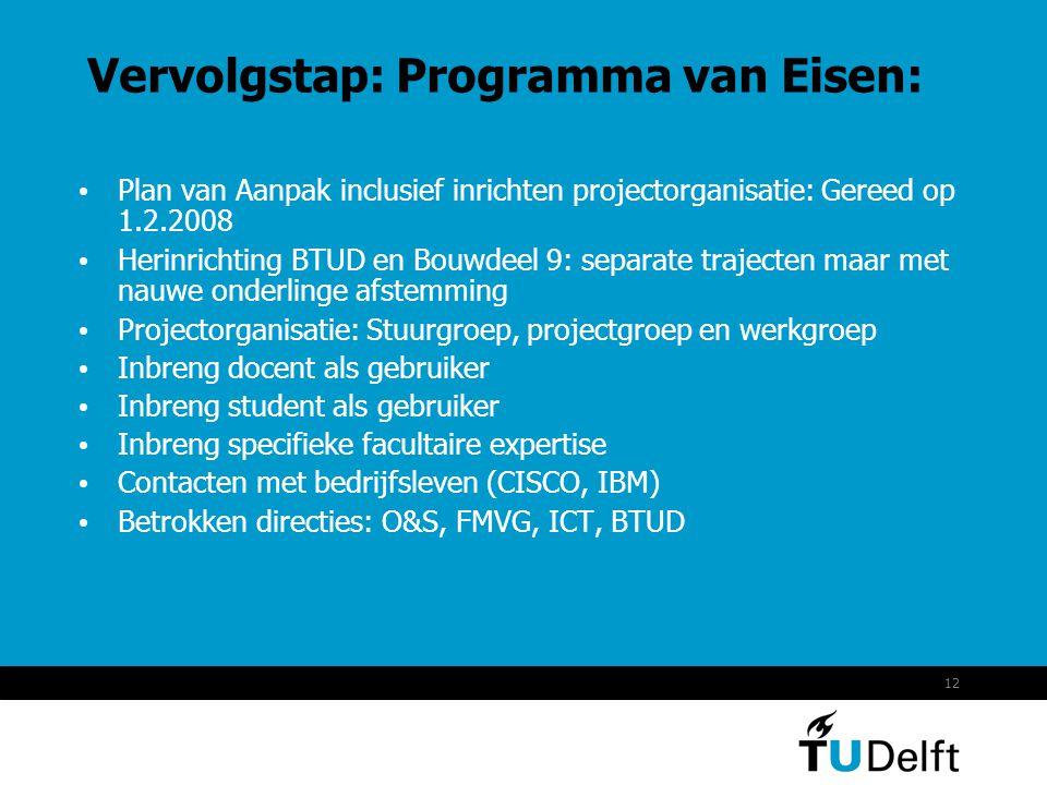 12 Vervolgstap: Programma van Eisen: • Plan van Aanpak inclusief inrichten projectorganisatie: Gereed op 1.2.2008 • Herinrichting BTUD en Bouwdeel 9: