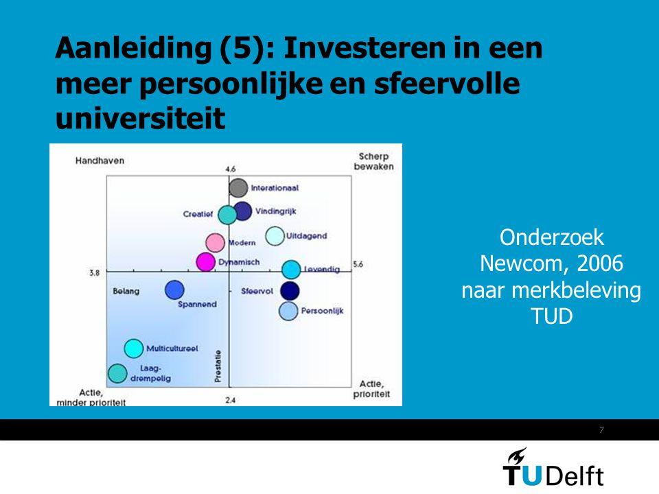 7 Aanleiding (5): Investeren in een meer persoonlijke en sfeervolle universiteit Onderzoek Newcom, 2006 naar merkbeleving TUD