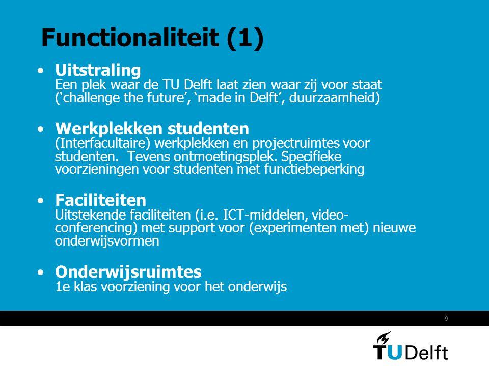 9 Functionaliteit (1) •Uitstraling Een plek waar de TU Delft laat zien waar zij voor staat ('challenge the future', 'made in Delft', duurzaamheid) •Werkplekken studenten (Interfacultaire) werkplekken en projectruimtes voor studenten.