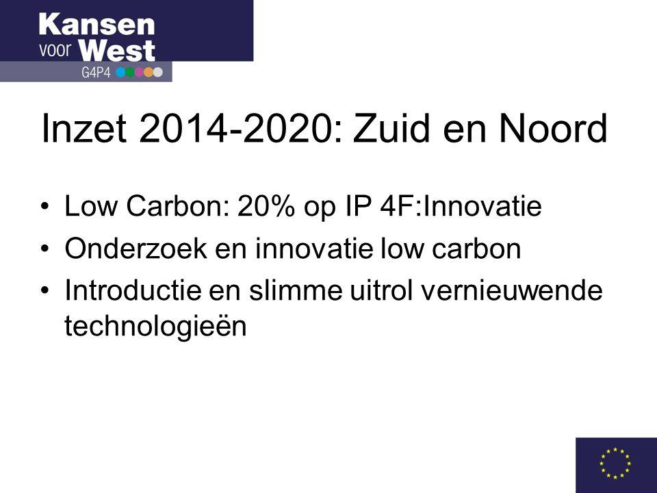 Inzet 2014-2020: Zuid en Noord •Low Carbon: 20% op IP 4F:Innovatie •Onderzoek en innovatie low carbon •Introductie en slimme uitrol vernieuwende technologieën