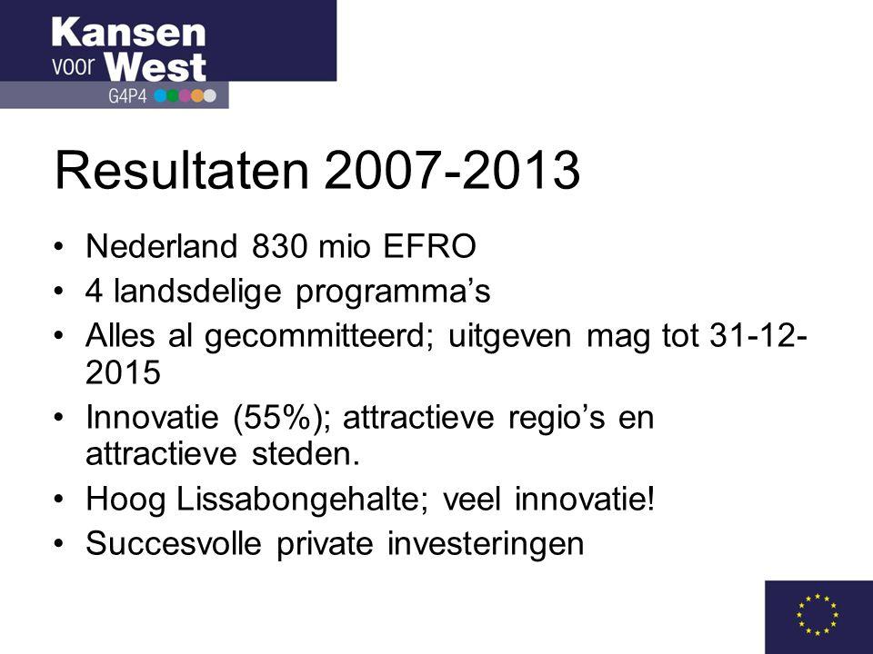 Inzet 2014-2020 WEST I •Innovatie 55-60% (raming 100-105 mio EFRO en 250-300 mio incl.