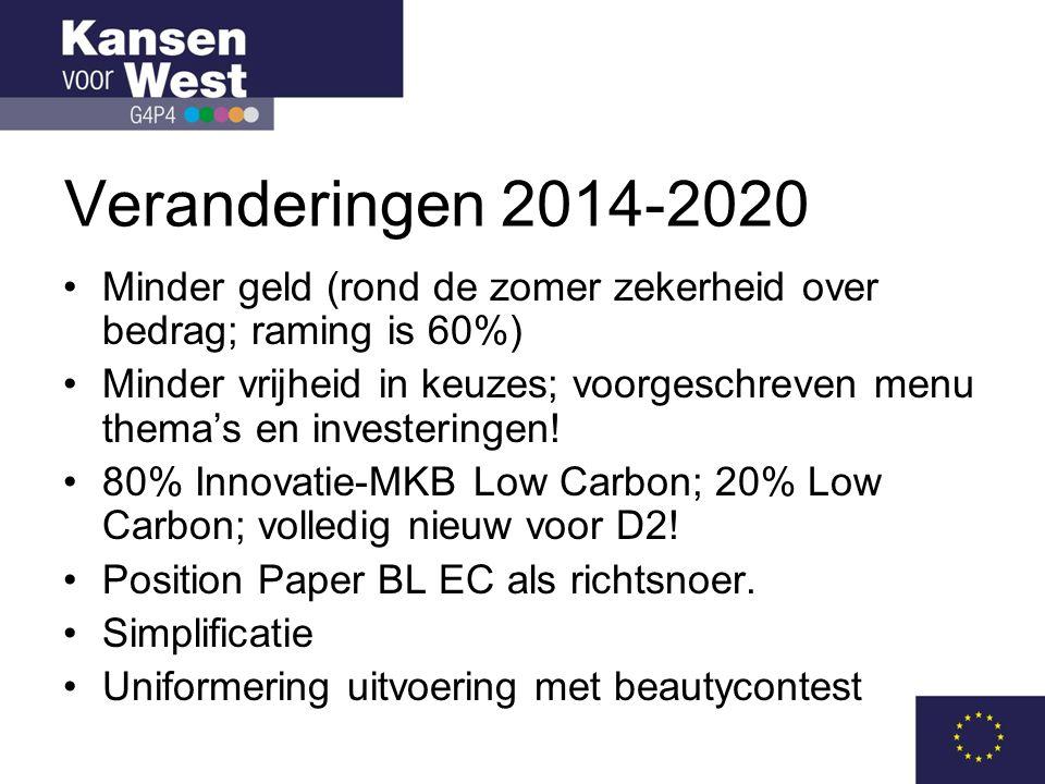 Veranderingen 2014-2020 •Minder geld (rond de zomer zekerheid over bedrag; raming is 60%) •Minder vrijheid in keuzes; voorgeschreven menu thema's en investeringen.
