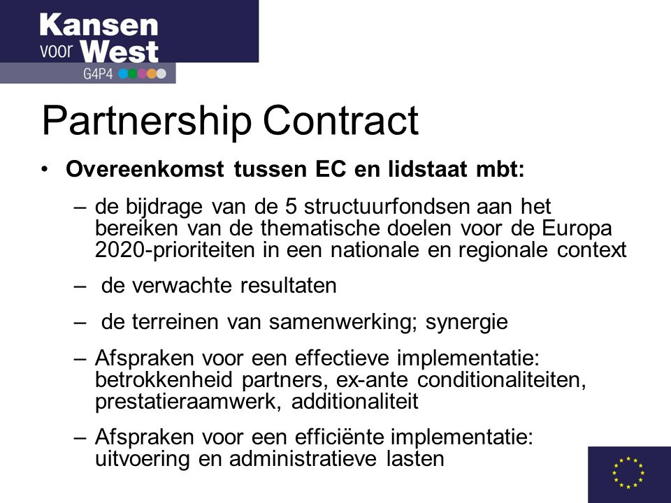 Winkel open •Nu OP's ingeleverd bij EZ en ex-ante evaluator: 80%-versie •Nog verdere consultatie en uitbouw tot 100% in periode tot en met oktober.