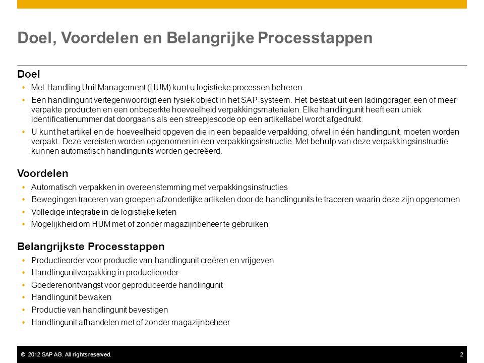 ©2012 SAP AG. All rights reserved.2 Doel, Voordelen en Belangrijke Processtappen Doel  Met Handling Unit Management (HUM) kunt u logistieke processen