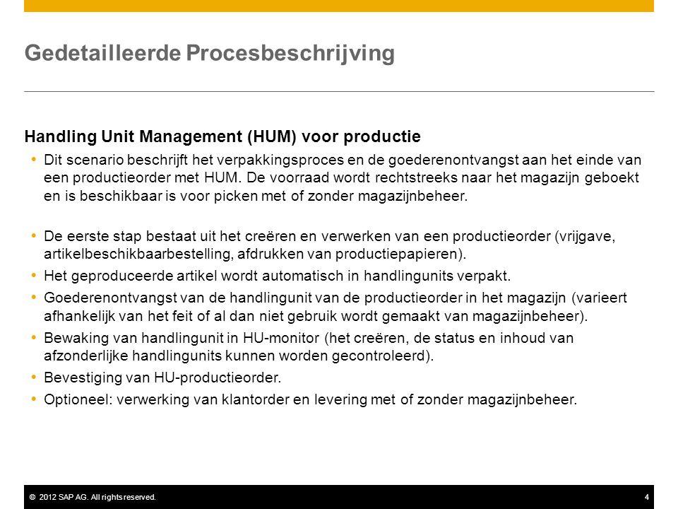 ©2012 SAP AG. All rights reserved.4 Gedetailleerde Procesbeschrijving Handling Unit Management (HUM) voor productie  Dit scenario beschrijft het verp