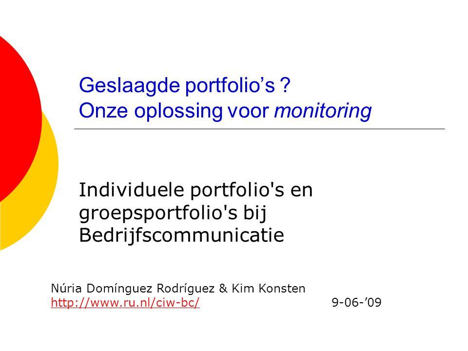 Geslaagde portfolio's ? Onze oplossing voor monitoring Individuele portfolio's en groepsportfolio's bij Bedrijfscommunicatie Núria Domínguez Rodríguez