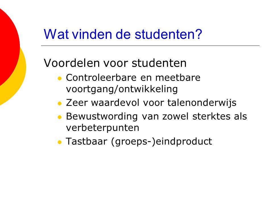 Wat vinden de studenten? Voordelen voor studenten  Controleerbare en meetbare voortgang/ontwikkeling  Zeer waardevol voor talenonderwijs  Bewustwor