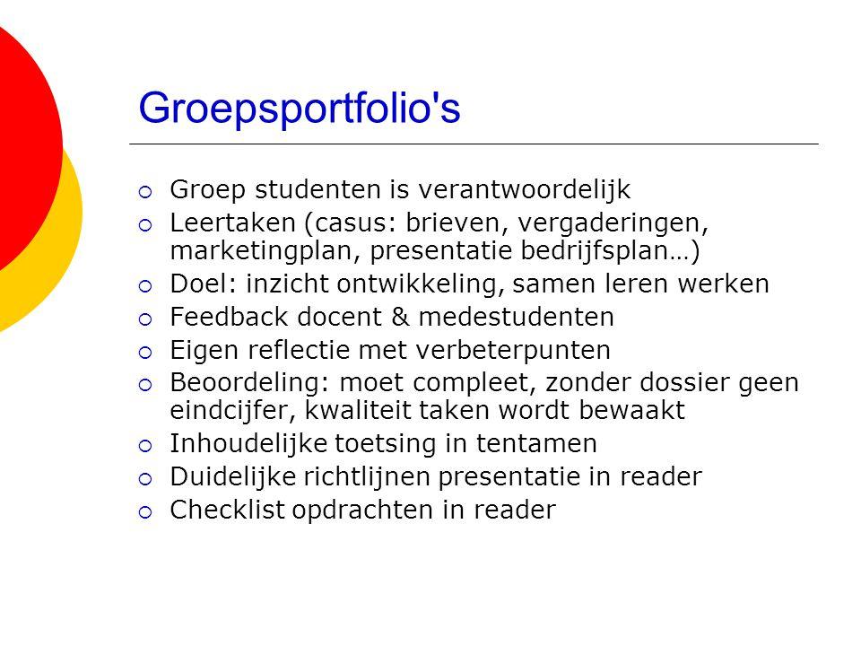 Groepsportfolio's  Groep studenten is verantwoordelijk  Leertaken (casus: brieven, vergaderingen, marketingplan, presentatie bedrijfsplan…)  Doel:
