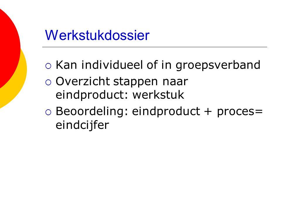 Werkstukdossier  Kan individueel of in groepsverband  Overzicht stappen naar eindproduct: werkstuk  Beoordeling: eindproduct + proces= eindcijfer